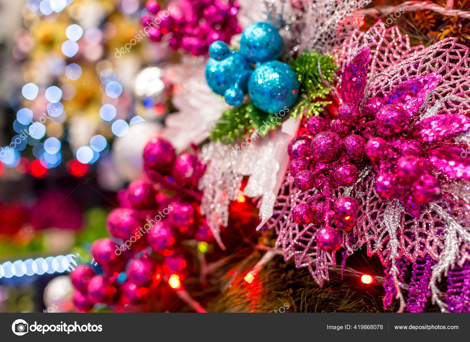 Closeup Pink Blue Christmas Ornaments Decorated Geneva Style Christmas Tree Stock Photo C Mikeedwards 419868078