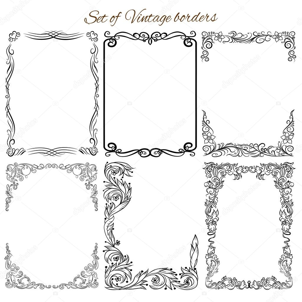 Set of vintage ornamental borders.