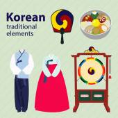 Photo Korean traditional elements vector set