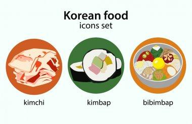 Korean food flat design icons set.