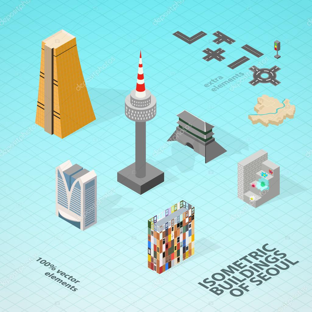 Isometric buildings of Seoul.