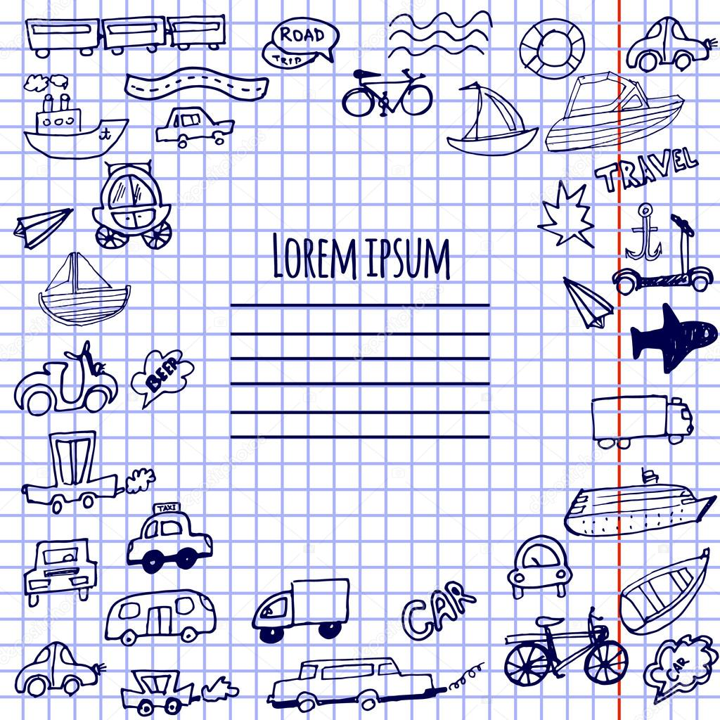 Hand-drawn doodle cars, bicycles and ships vector background.