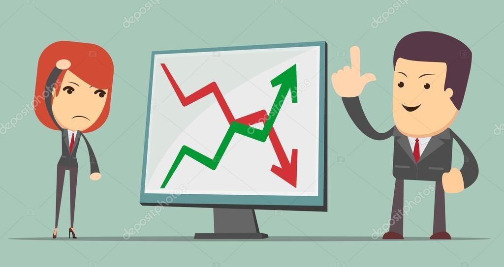 Geschäftsleute mit Gewinn und Verlust Pfeil — Stockvektor © Aleksei ...
