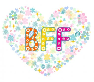 BFF. Best Friends Forever - heart shaped type lettering vector design. Greeting card clip art vector