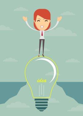 Businesswoman on a bulb cross an abyss. Vector