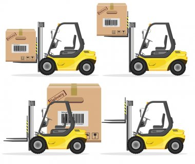 Loader with Box. Shipment Icons Set. Vector