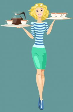 Girl Waitress Carrying a Tray With Cups Of Coffee And Tea, Vector
