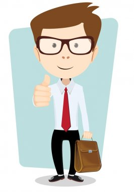Smiling winking cartoon business man giving the thumbs up with briefcase.