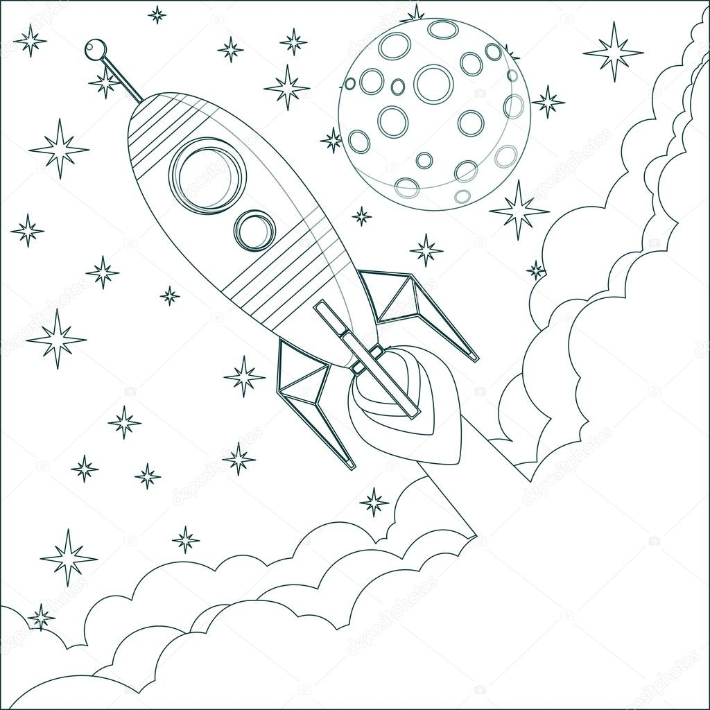 Cartoon Rocket , moon in sky with space for text