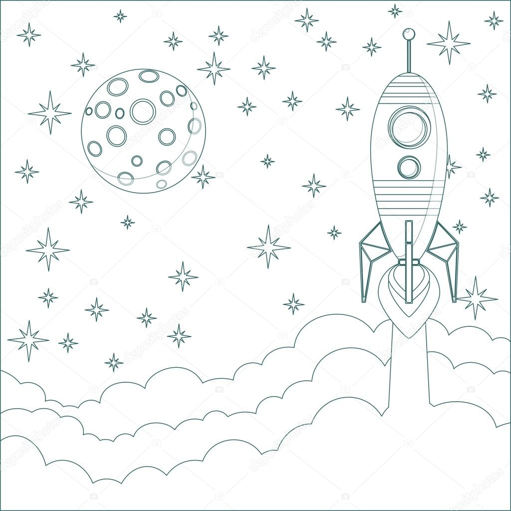 Rocket , moon in sky with space for text