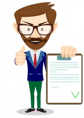 Hipster Man Holding a Paper With Green Flags, Vector