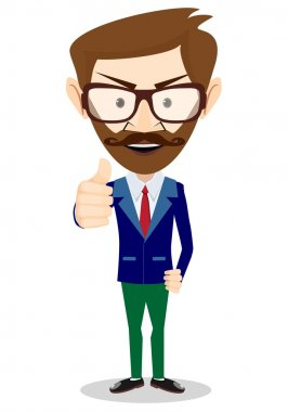 Stock Vector Illustration of a Smiling and Winking Cartoon Business Man Giving the Thumbs Up.