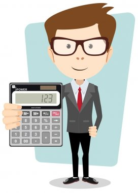 Businessman or Accountant with a Calculator, Vector Illustration