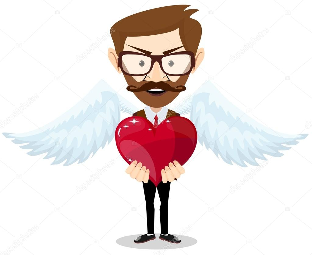 Young hipster-Man Inspired by Love Keeps the Heart. Vector Illustration