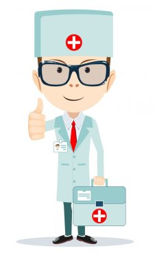 Friendly Doctor flat cartoon character