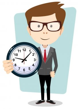Businessman holding a clock, vector illustration