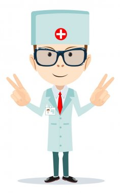 Friendly Doctor - dentist. Vector