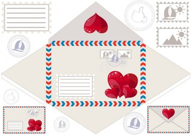 Scan to print an envelope, stamped and hearts, vector illustration