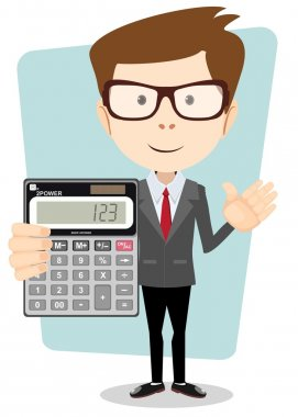 Accountant with a Calculator, Vector Illustration