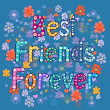 Best friends forever - greeting card . Vector illustration clip art vector