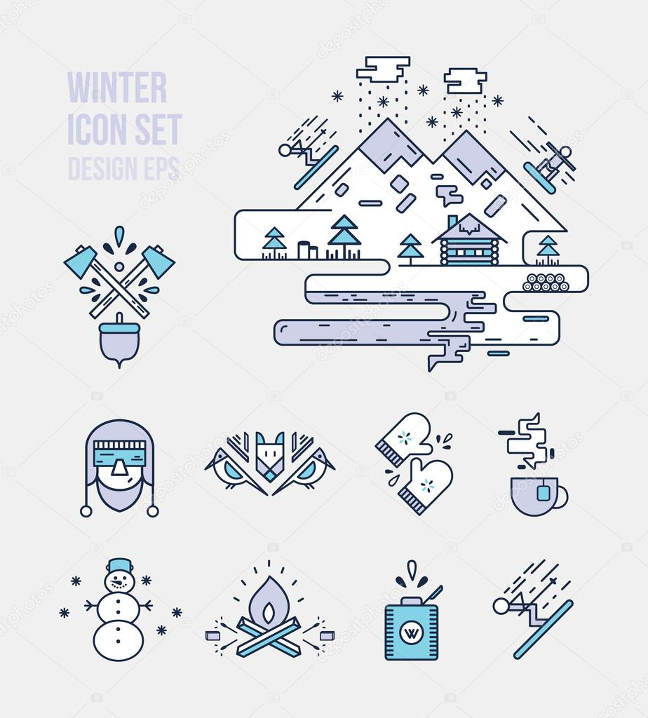 Winter and lumberjack icon sets