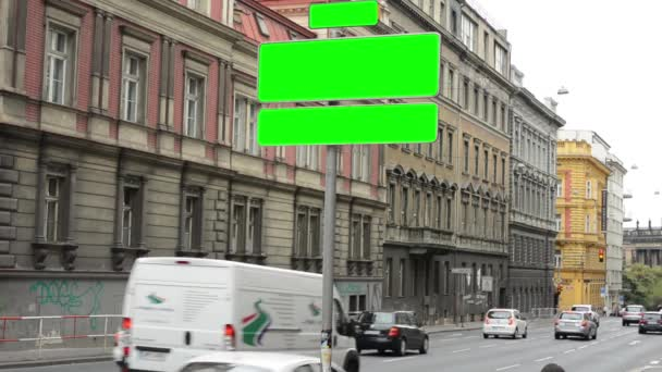 Road signs green screen city urban street with cars traffic jam