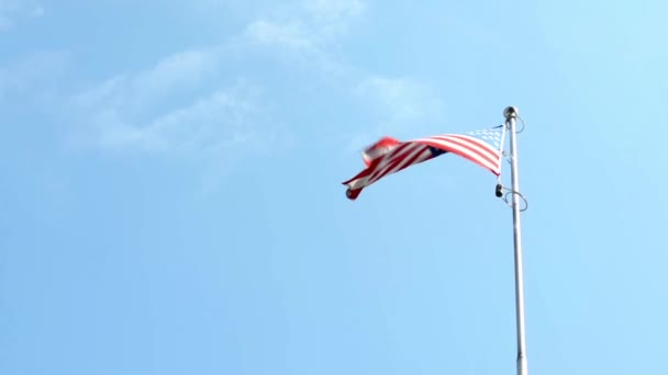 American (USA - United States of America) flag - blue sky - sunny