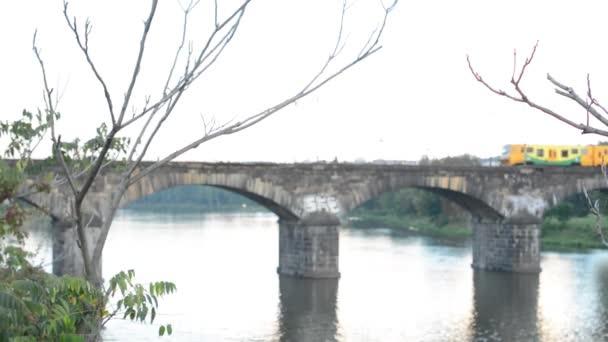 Příroda (keře a stromy) - most pro vlak nad řekou v pozadí