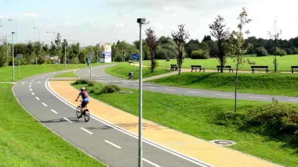 Lidé v parku (ve městě) - Zelená příroda (tráva a stromy Les) - dlažba - roller bruslaře, cyklisty a běžce