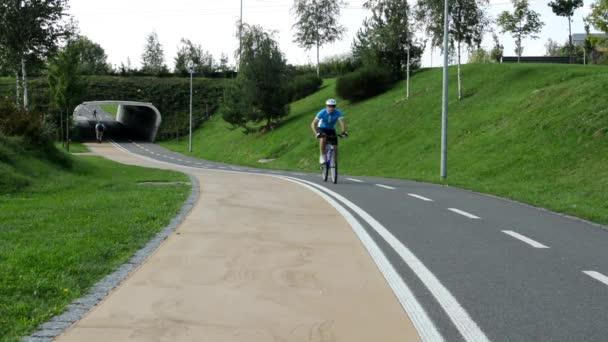 Lidé v parku (ve městě) - Zelená příroda (tráva a stromy) - dlažba - bruslaři a cyklisté