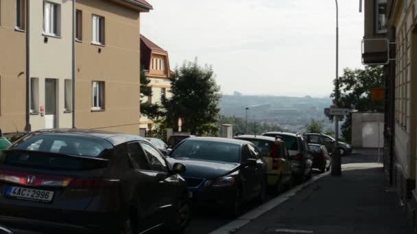 Városi utcai és a város a természettel - parkoló autók