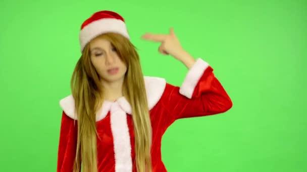 Christmas - Holidays - young attractive woman - green screen - woman kills herself (Christmas fever - chaos)