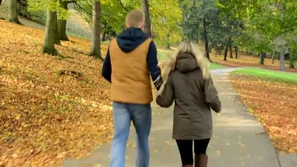 Modelu mladý pár v lásce - podzimní park(nature) - pár (muž a žena) běžící v parku - pár držení rukou - šťastný pár