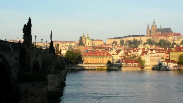 Charles bridge - sunrise - city - buildings with statues - Prague castle (Hradcany)
