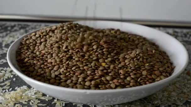 Lentils in plate - hand
