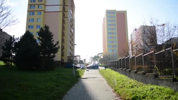 High-rise block of flats - housing estate (development) with nature - sky