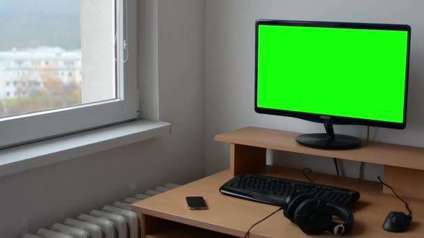 Počítač v místnosti - zelené obrazovky - nikdo - domů