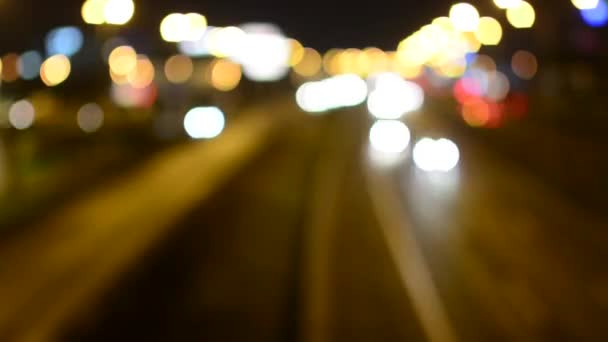 Night highway cars - night city - lights - timelapse - blur (unfocused)