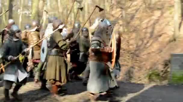 Medieval battle - war - soldiers fight on the bridge