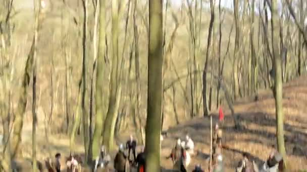 Medieval battle - war - soldiers wait in forest