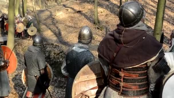 Medieval battle - war - soldiers wait in row