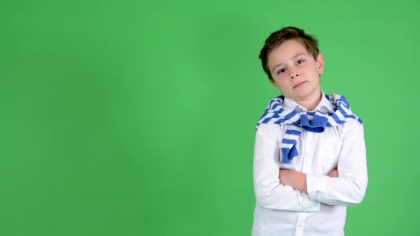 Young handsome child boy smiles to camera (folded arms) - green screen - studio