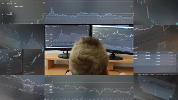 4K montage (compilation) - Man works on the financial market (exchange) on computer