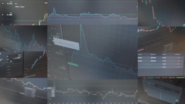 4 k sestřih (kompilace) - finanční trh (výměna) - graf - záběr na monitoru