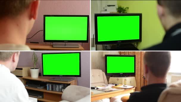 4k Montage (4 Video) - televisione (Tv) schermo verde - la gente guarda la televisione