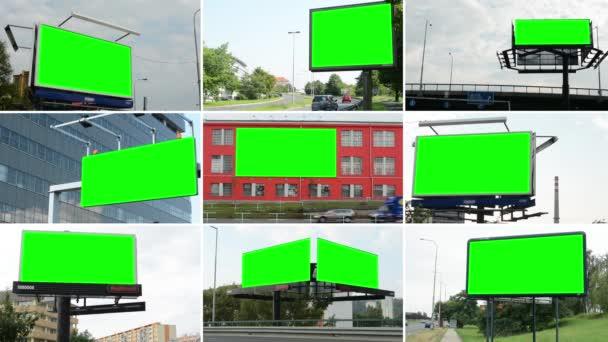 4k fotomontáž (kompilace)-Billboard ve městě nedaleko silnice-zelená obrazovka-budovy v pozadí
