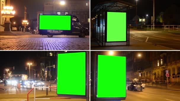 4k fotomontáž (kompilace)-reklamní automobily a billboardy-zelená noční městská ulice s auty (světla)
