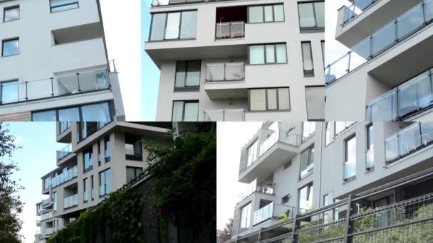 4k fotomontáž (kompilace)-moderní budova-balkon-okna-modrá obloha-příroda