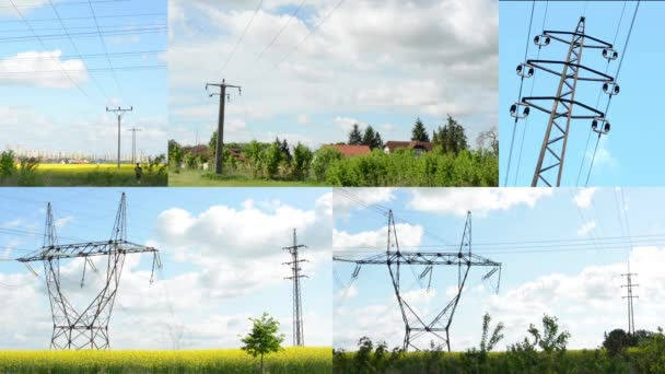 4k fotomontáž (kompilace)-vysoké napětí s přírodou a budovami-modrá obloha s mraky