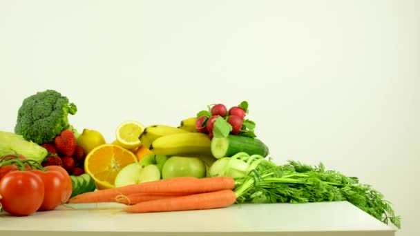 healthy food - vegetables and fruits - white background studio